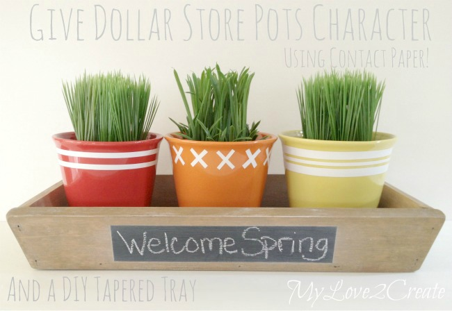 DIY Tapered Tray & Dollar Store Pots dressed up with contact paper
