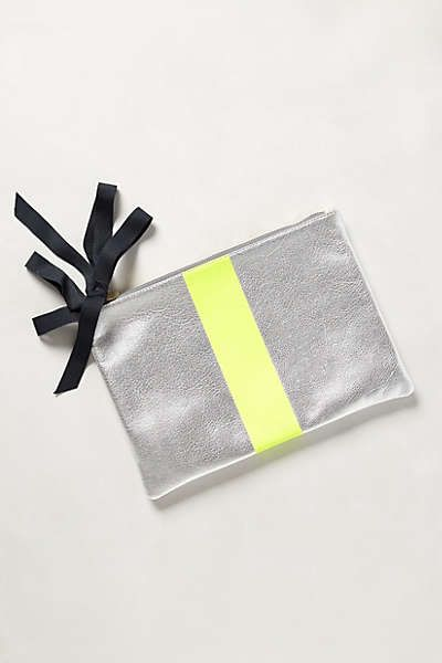 Anthropologie Inspired Striped Leather Pouch     Oh My Creative