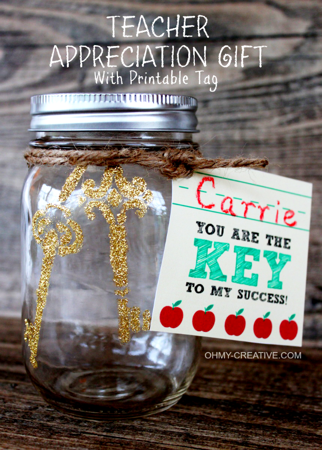 """""""You are the KEY to my success"""" Teacher Appreciation Gift with Printable Tag 