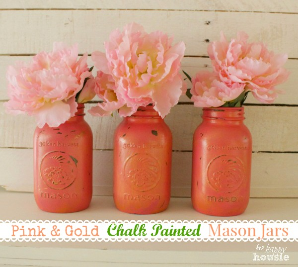 Pink-Chalk-Painted-Mason-Jars-with-Gold-Wax-at-The-Happy-Housie
