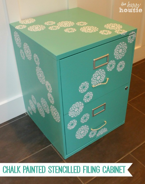 http://thehappyhousie.com/chalk-painted-stencilled-filing-cabinet/