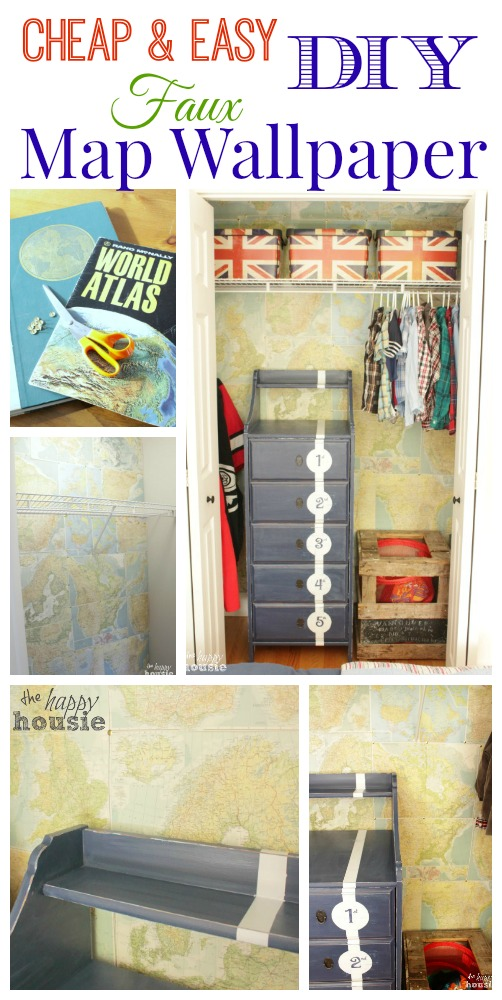 Dress-up-a-wall-or-closet-with-cheap-and-easy-DIY-Faux-Map-Wallpaper-full-tutorial-at-The-Happy-Housie
