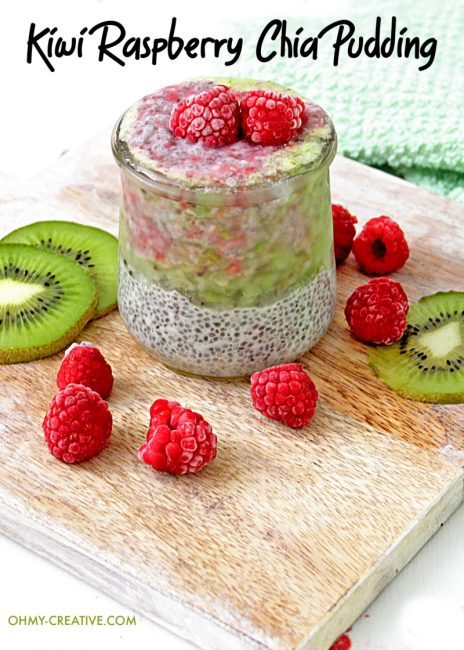 raspberries and kiwi in chia pudding cup