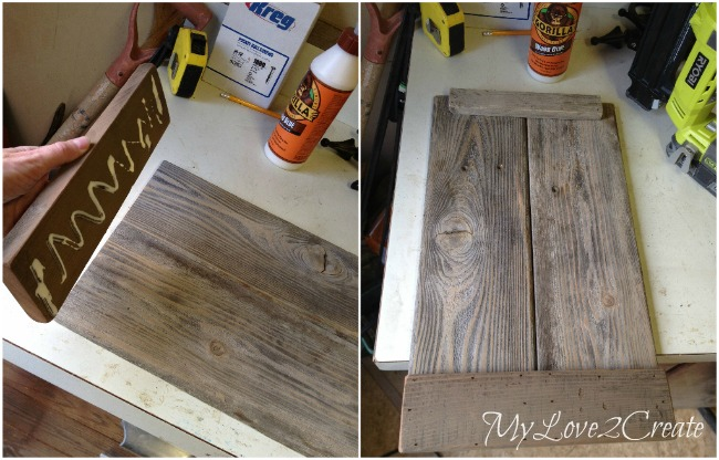Using scrap wood to secure fence boards together