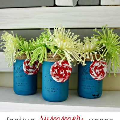 Festive Summer Mason Jar Vases