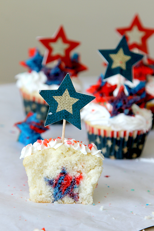 "Firecracker ""Surprise Inside"" Cupcakes"