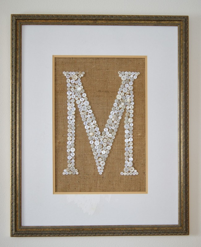 Burlap Button Monogram
