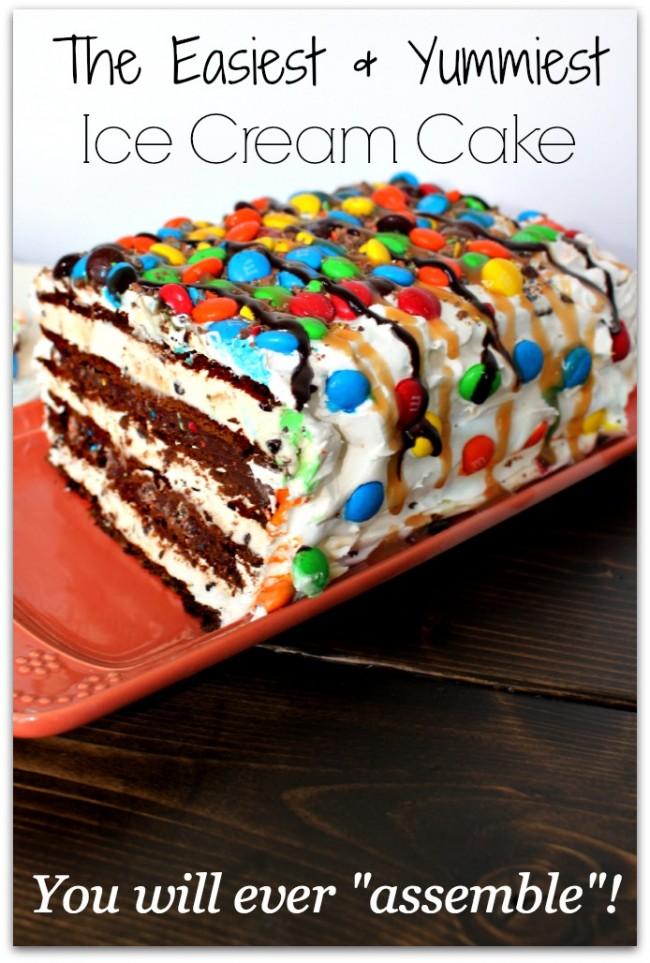 no bake ice cream cake made with ice cream sandwiches