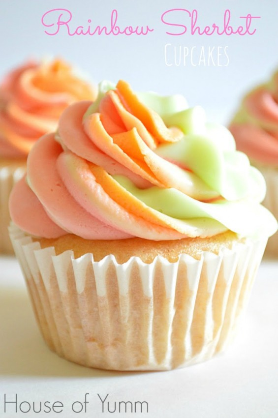 light pastel colored frosting on top of cupcakes
