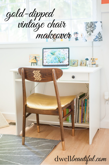 chair-makeover with gold dipped legs