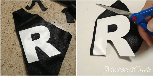 Cutting letters out of leather