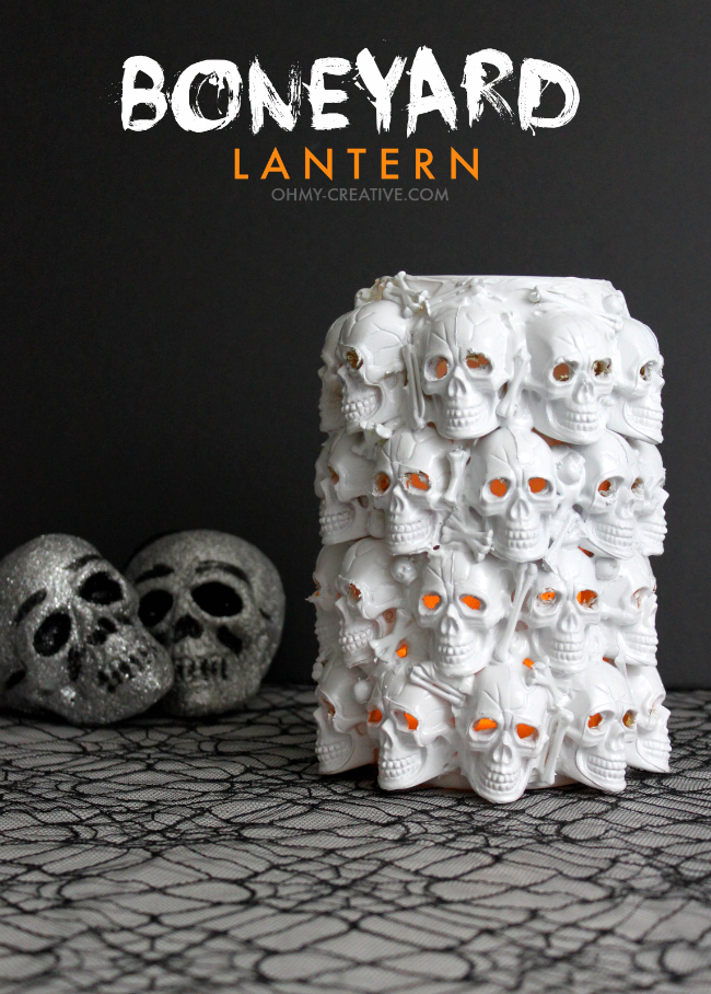 DIY Boneyard Lantern - a Pottery Barn knockoff for Halloween  |  OHMY-CREATIVE.COM