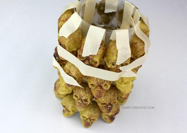 Use Krazy Glue to make this DIY Boneyard Lantern - a Pottery Barn knockoff for Halloween  |  OHMY-CREATIVE.COM