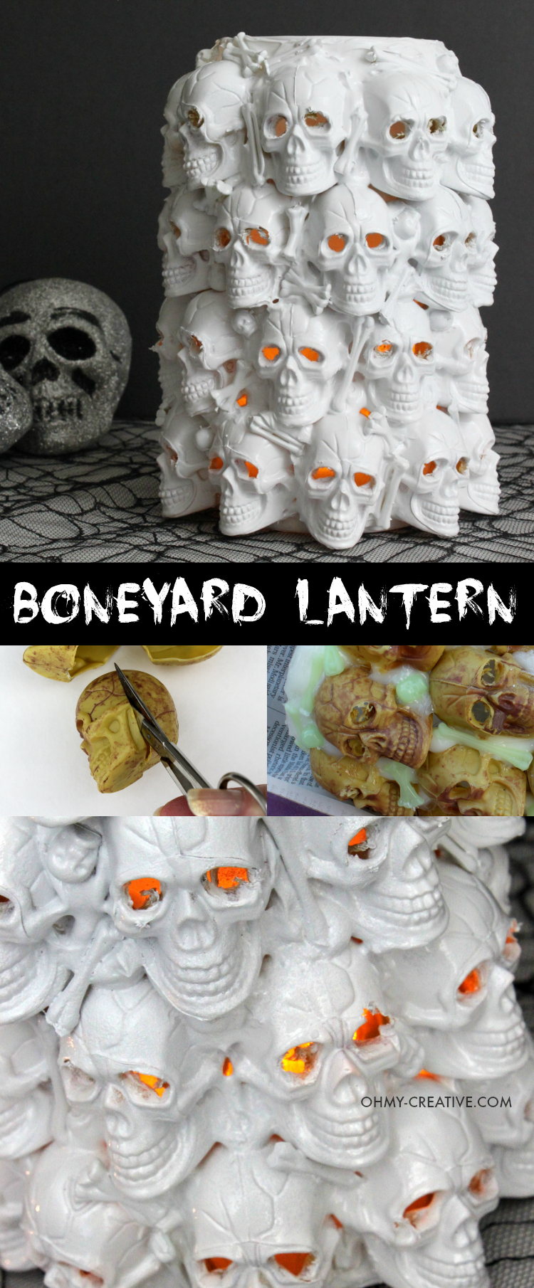 See how I made this Boneyard Lantern from plastic skulls, a dollar store necklace and a few other odd things to make this skull Pottery Barn knockoff. Absolutely one of the coolest things I have ever made!   |  OHMY-CREATIVE.COM