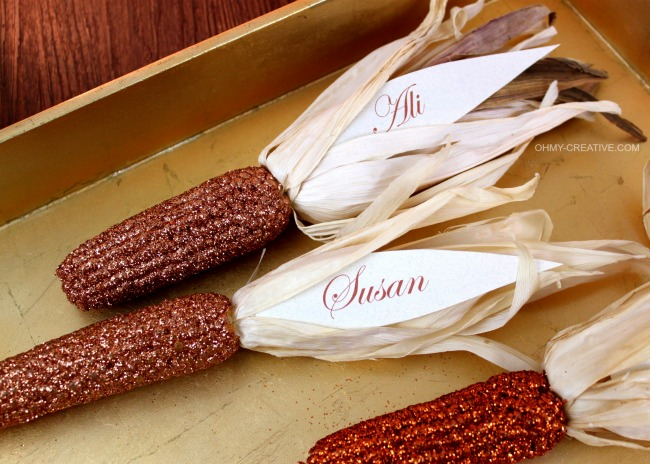 Glitter Indian Corn Place Cards