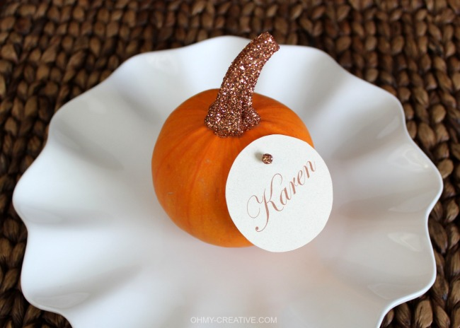 Glitter Top Pumpkin Place Cards