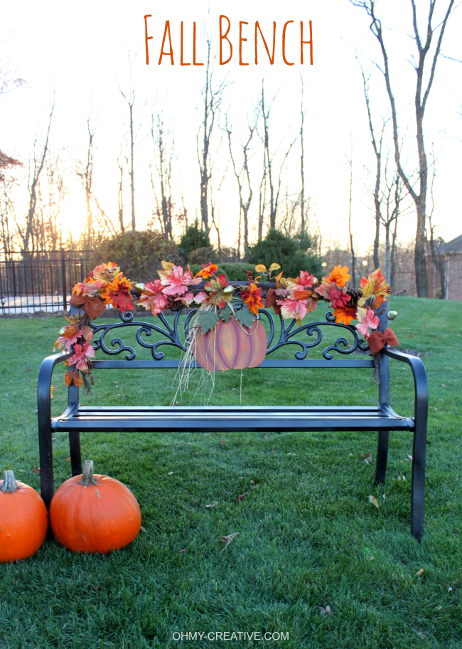 Easy To Decorate Fall Outdoor Bench Oh My Creative