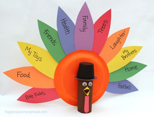 Grateful turkey craft where kids can write what they are grateful on paper feathers