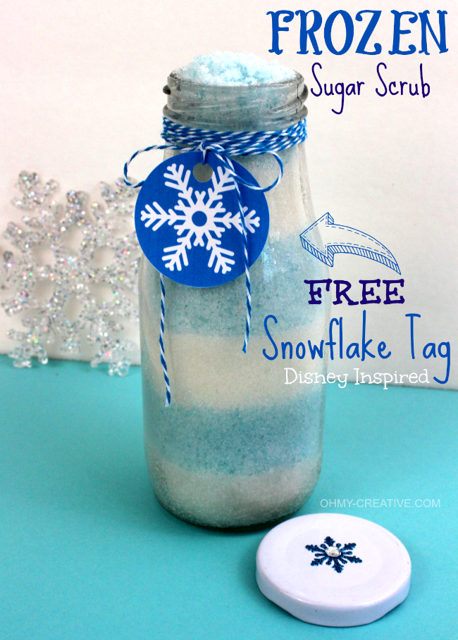 This Disney Inspired Frozen Sugar Scrub with FREE Snowflake Printable Tag is an easy to make gift idea or party favor! | OHMY-CREATIVE.COM