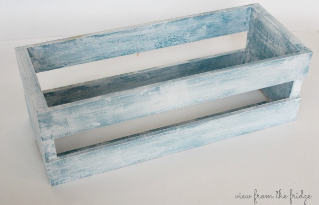 Easy fall DIY decor idea - Painted crate using American Decor Chalky Finish Paint