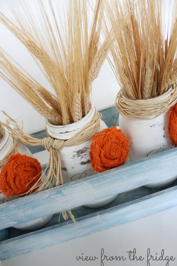 Fall Mason Jar Centerpiece and How To Make Burlap Rosettes
