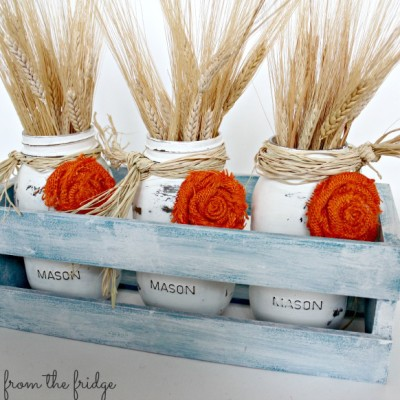 Fall Mason Jar Centerpiece {and how to make burlap rosettes}