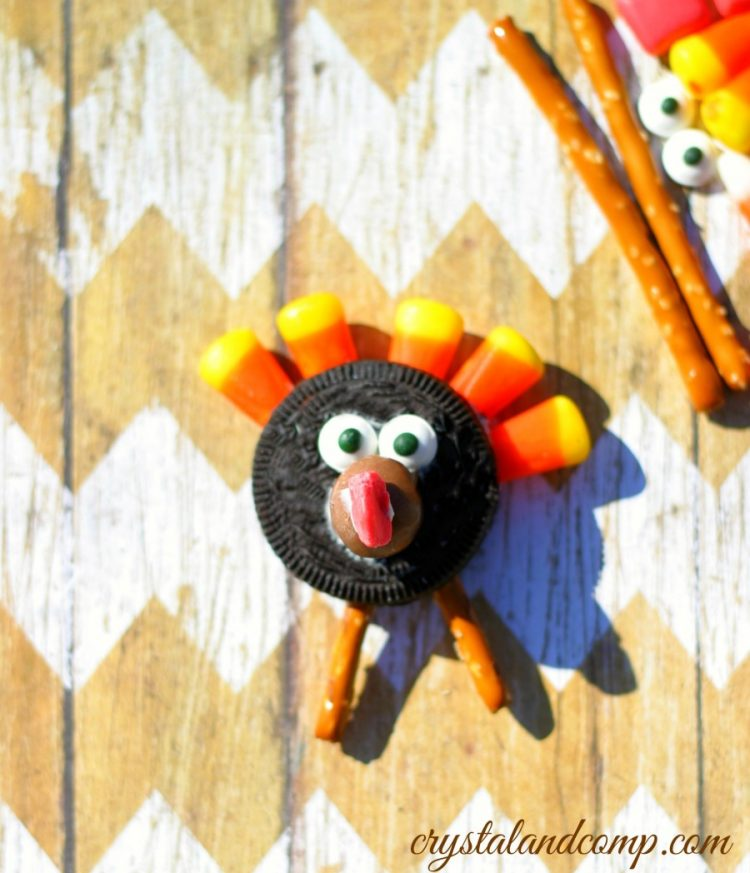 Oreo Turkeys with pretzel legs and candy corn feathers.