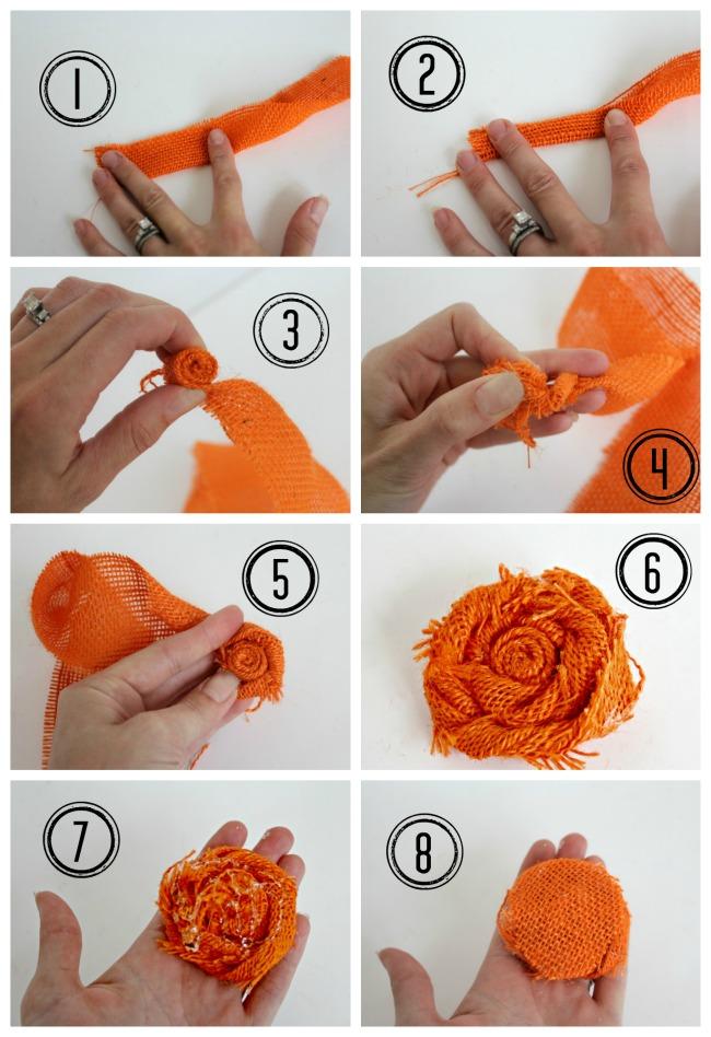Easy fall DIY decor idea - How to make a burlap rosette | OHMY-CREATIVE.COM