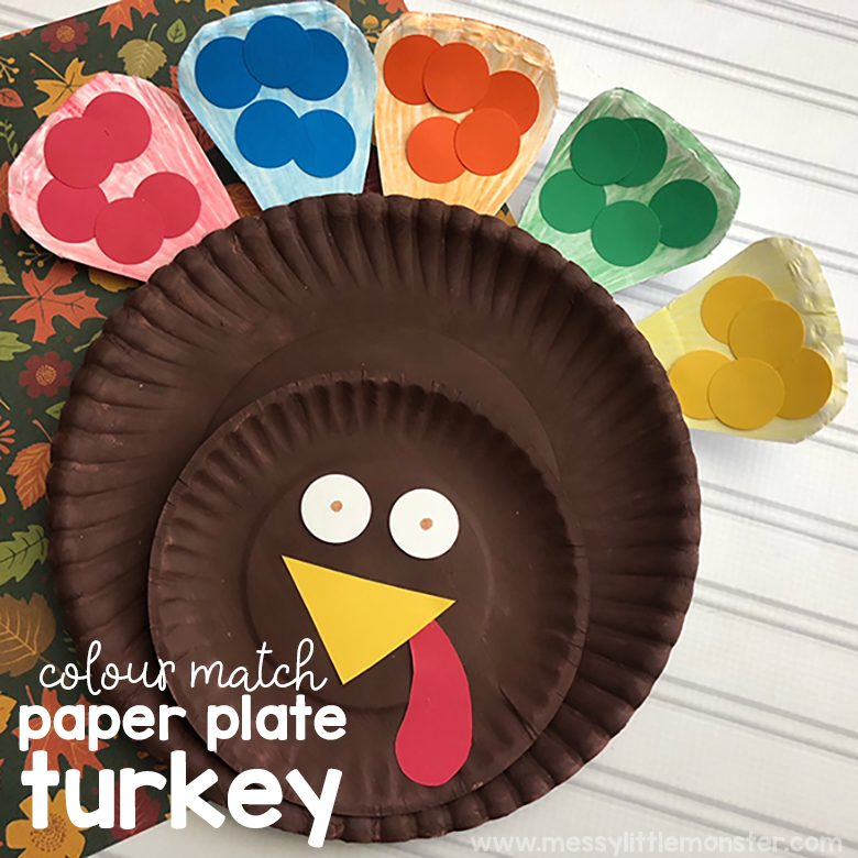 Turkey craft made out of paper plates that can also be used for color matching for kids