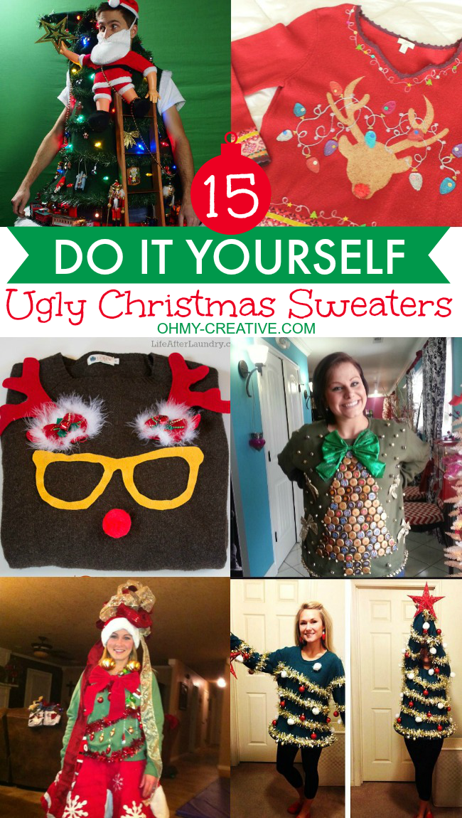 15 DIY Ugly Christmas Sweaters | OHMY-CREATIVE.COM | Ugly Christmas Sweater | Ugly Sweater Ideas | Christmas Sweaters | Tacky Christmas Sweaters | Funny Ugly Christmas Sweaters | Mens Ugly Christmas Sweaters | DIY Christmas Sweater
