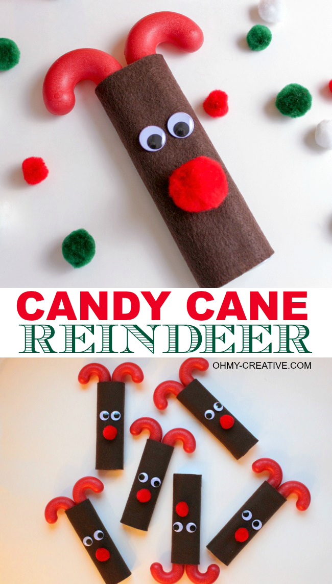 Candy cane reindeer oh my creative for Easy candy cane crafts