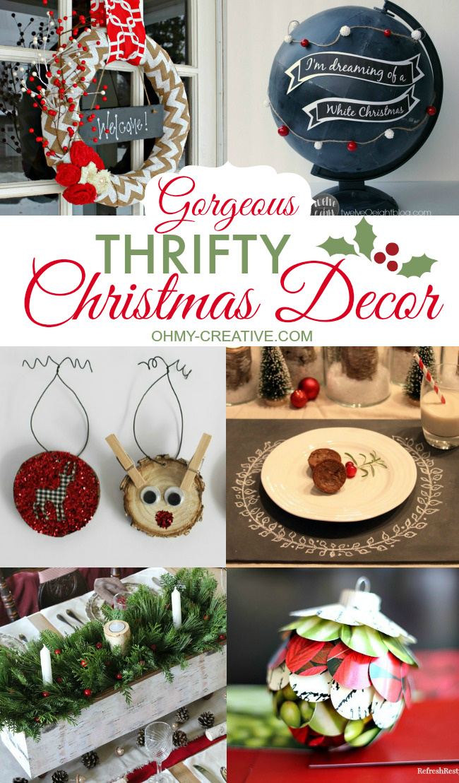 Create Gorgeous Thrifty Christmas Decor for your home or to give as a gift! | OHMY-CREATIVE.COM