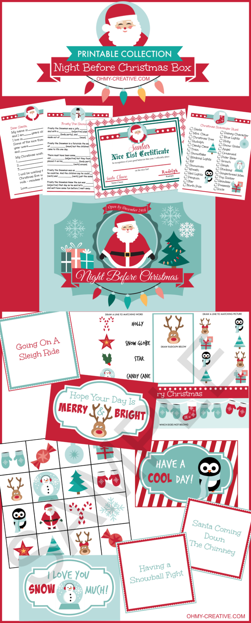 Night Before Christmas Box Printables  Oh My Creative