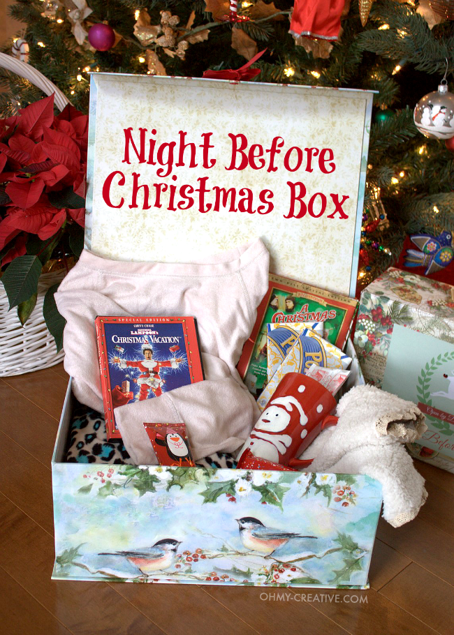 gift ideas for old family photos - Night Before Christmas Box With Free Printable Label