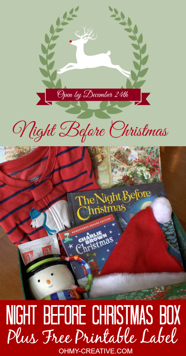 Start a new family tradition on Christmas Eve with this Night Before Christmas Box with Free Printable Label Fun for the whole family | OHMY-CREATIVE.COM