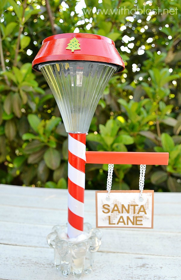 Santa Lane Sign from a solar light