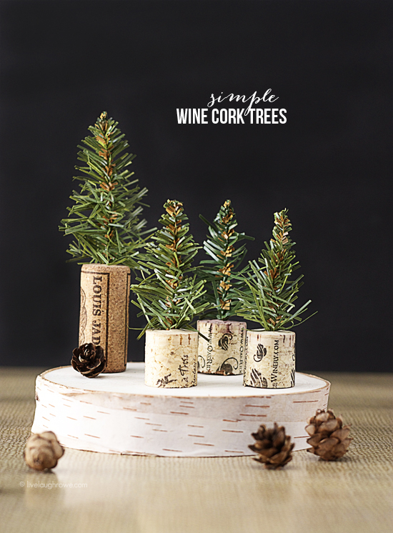 Simple Wine Cork Trees! Perfectly rustic feel for dinner favors or a sweet edition to you holiday decor. Tutorial at www.livelaughrowe.com