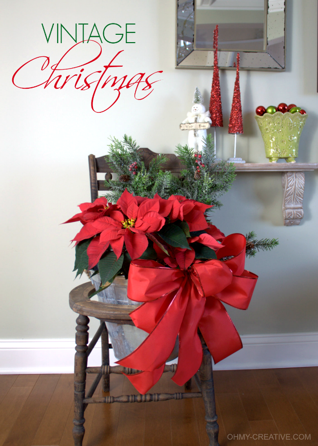 Repurpose an old chair using it as pretty Vintage Chair Christmas Decor  |  OHMY-CREATIVE.COM