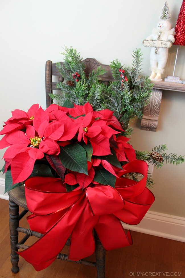 Repurpose an old chair using it as pretty Vintage Chair Christmas Decor   OHMY-CREATIVE.COM
