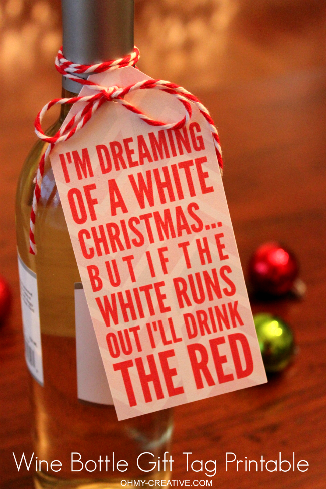 Free christmas wine bottle gift tag printable for Holiday party gift ideas for the hostess