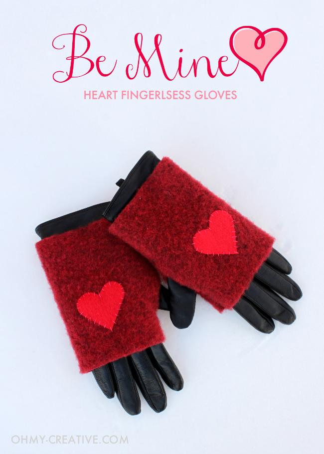 Be Mine Heart Fingerless Gloves | OHMY-CREATIVE.COM