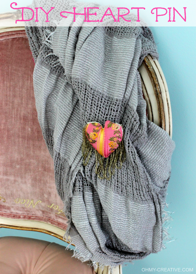 Create this pretty DIY Fabric Heart Pin with beads for Valentine's Day - or sport it everyday! | OHMY-CREATIVE.COM