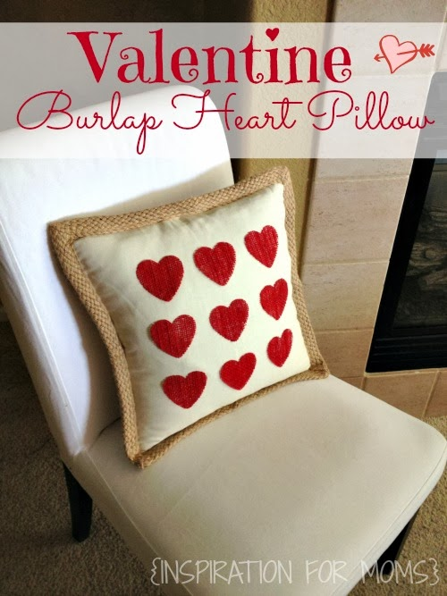 No-Sew Burlap Heart Pillow Tutorial
