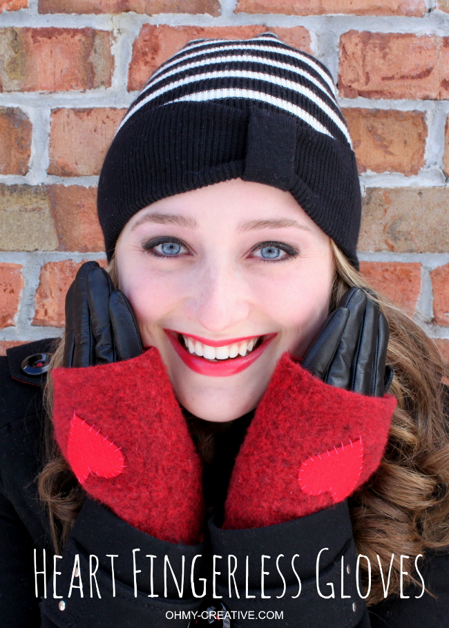 How to make Wool Heart Fingerless Gloves - Perfect for Valentine's Day | OHMY-CREATIVE.COM