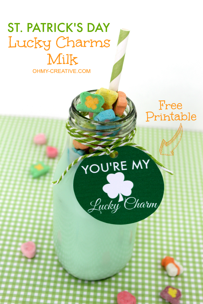 Celebrate St. Patrick's Day with this Lucky Charms Milk with Free Printable Tag! So fun for the kids! | OHMY-CREATIVE.COM  ||  Kids Drink | Free Printable | Kids Treat | Green Drink | Milk Bottle Drink | Preschool | Kindergarten