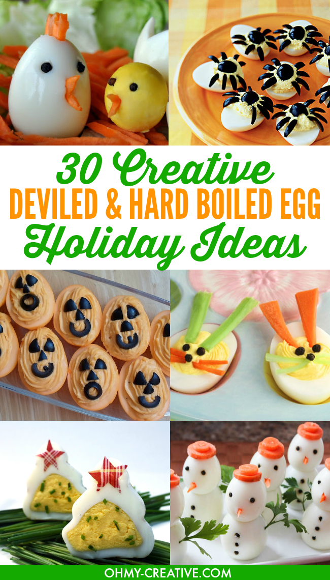 30 Creative Deviled Egg & Hard Boiled Egg Holiday Ideas for parties and celebrations including baby showers - fun for kids too!   OHMY-CREATIVE.COM