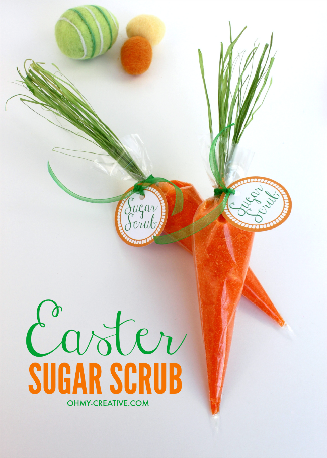 This Easter Carrot Sugar Scrub is easy to make and perfect to add to an Easter basket or to hand out to guest at your Easter celebration | OHMY-CREATIVE.COM