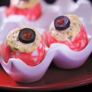 Halloween Eyeball Deviled Eggs