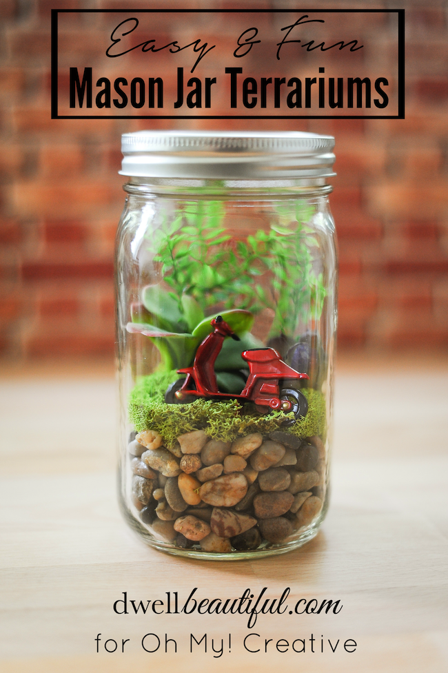 Easy mason jar terrariums oh my creative for Projects to do with mason jars