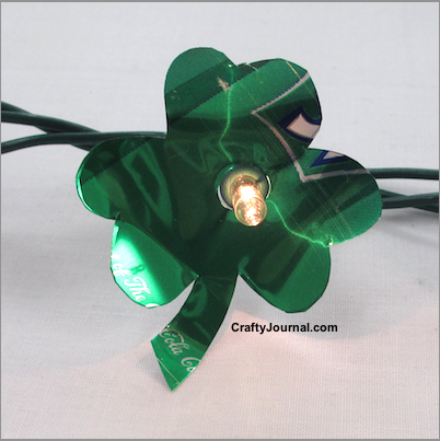St. Patrick's Day Shamrock Lights made from soda cans.